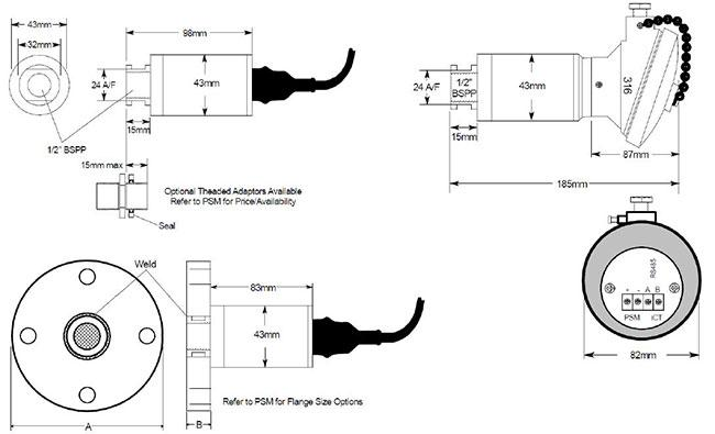 PSM Marine's ICT 1000 Level Transmitter Dimensions